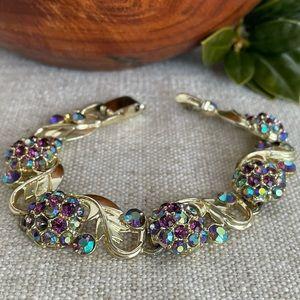 Vintage Aurora Borealis Rhinestone Flower Bracelet